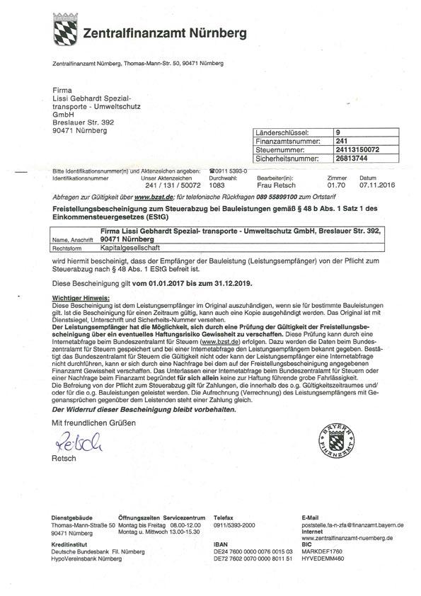 Lissi Gebhardt Entsorgungsfachbetrieb Industrieservice Umweltschutz Nürnberg Zertifikat Zertifikate Zentralfinanzamt