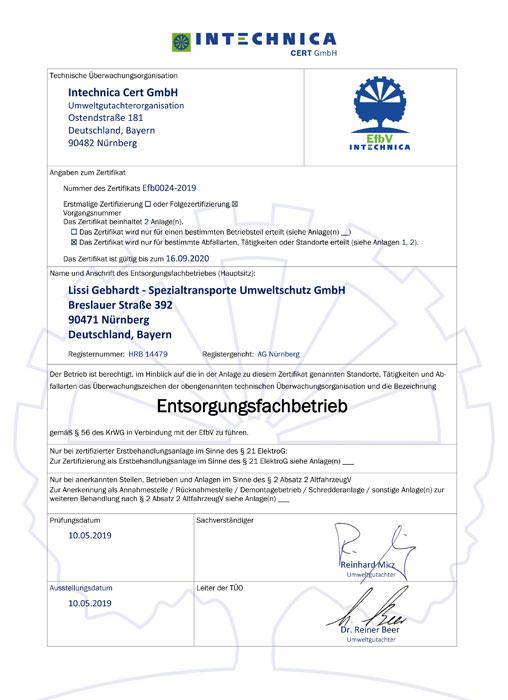 Lissi Gebhardt Entsorgungsfachbetrieb Industrieservice Umweltschutz Nürnberg Zertifikat Zertifikate Intechnica